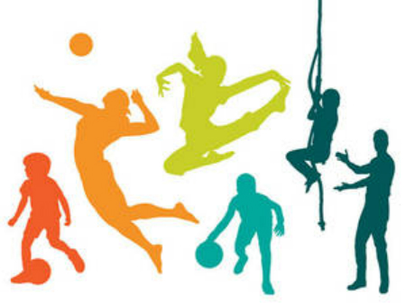 clip art of students in various Physical Education activities