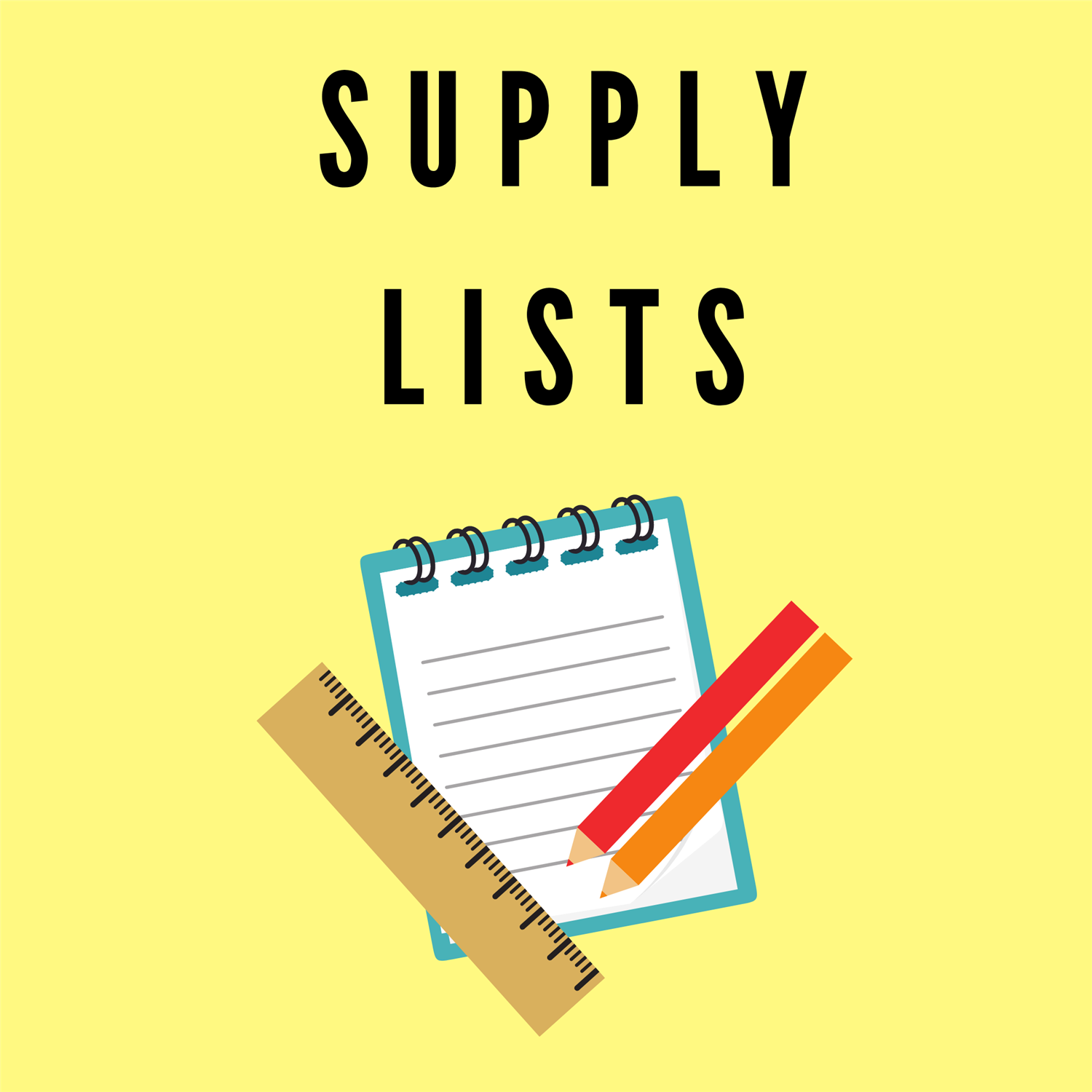 decorative image that says supply lists and shows a piece of paper and pencil