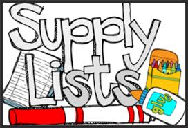 This image says supply lists and has a picture of school supplies.