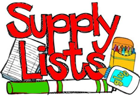 various school supplies surrounding words that say Supply Lists