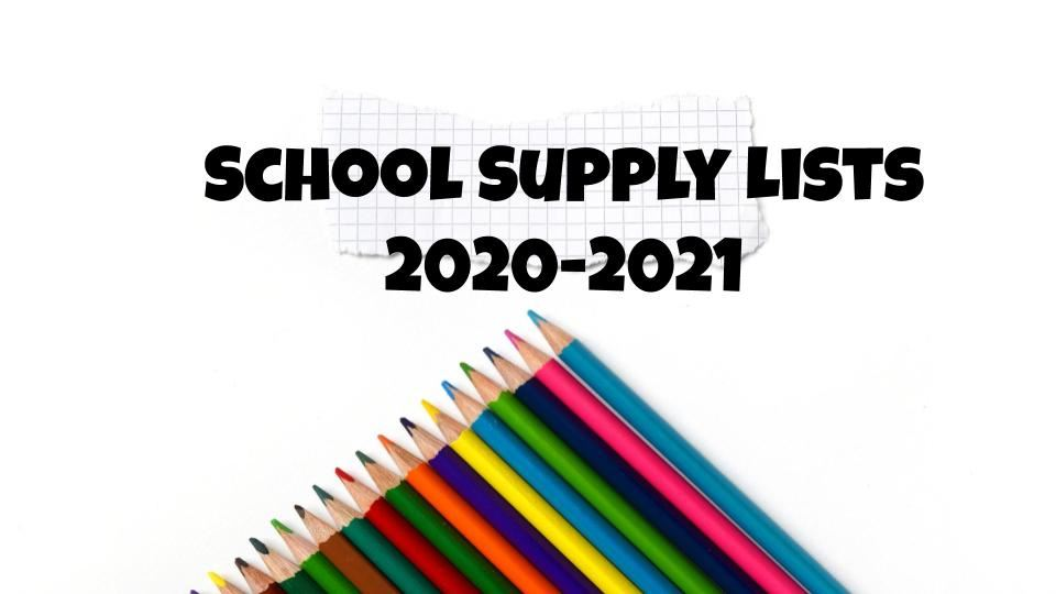 Supply Lists 2020-2021 School Year