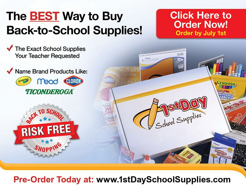Flyer with pictures of school supplies and details of the sale.