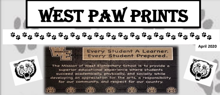 Logo with Bearcat paws and West Paw Prints title