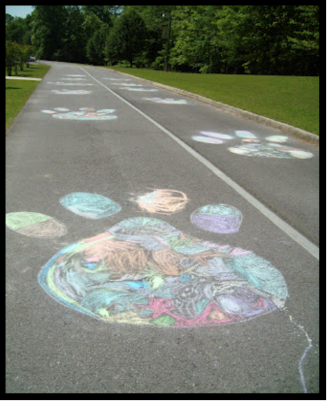 Chalk pawprint art image