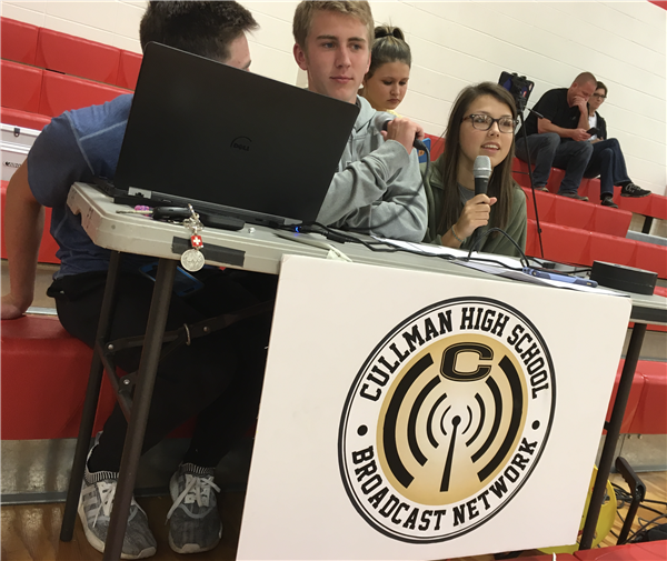 Eli and Kacy on the mics for CHS broadcast network