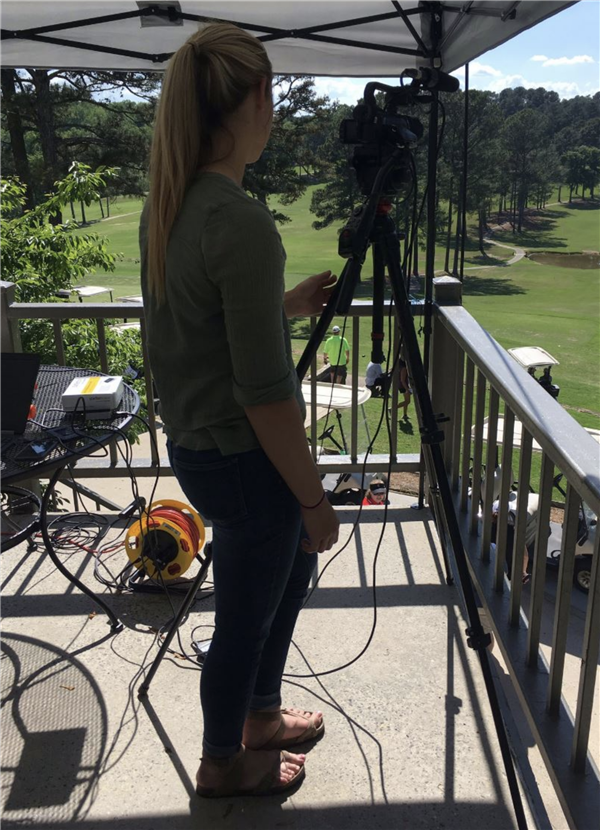 camera operator for broadcast network golf event at Terri Pines