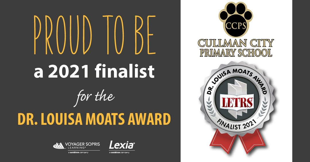 CCPS is proud to be a 2021 finalist for the Dr. louisa moats award