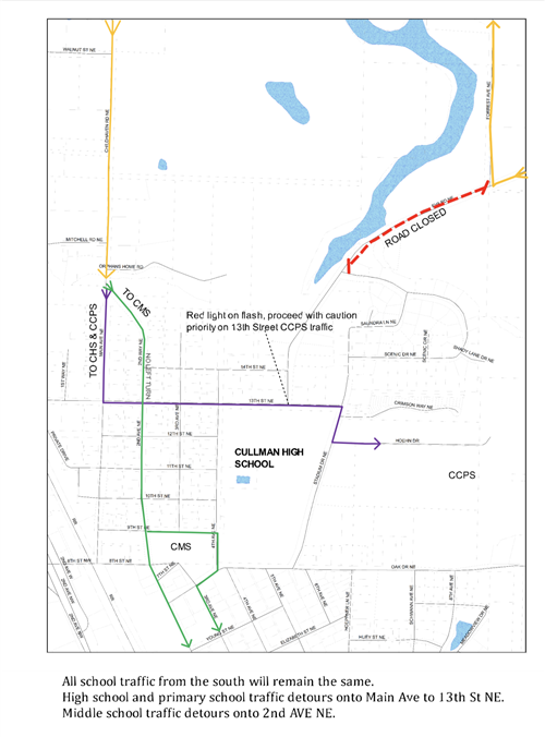 re-routing map for Eva Road closure