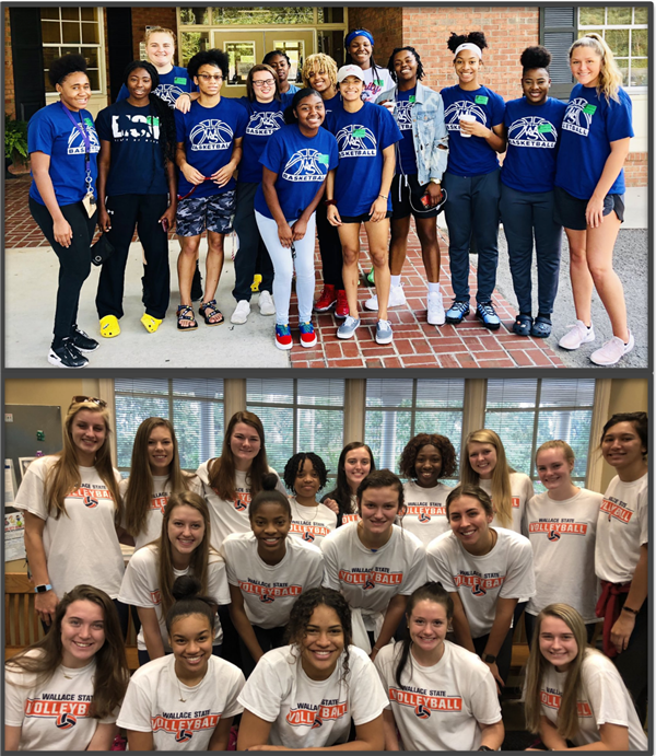 WSCC Volleyball and Women's Basketball team members at CCPS