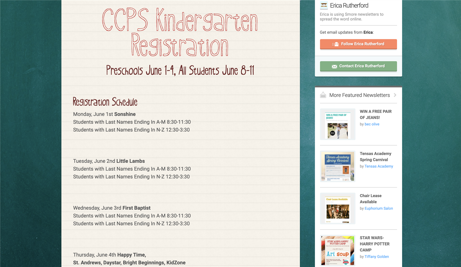 click here to read important information about kindergarten information