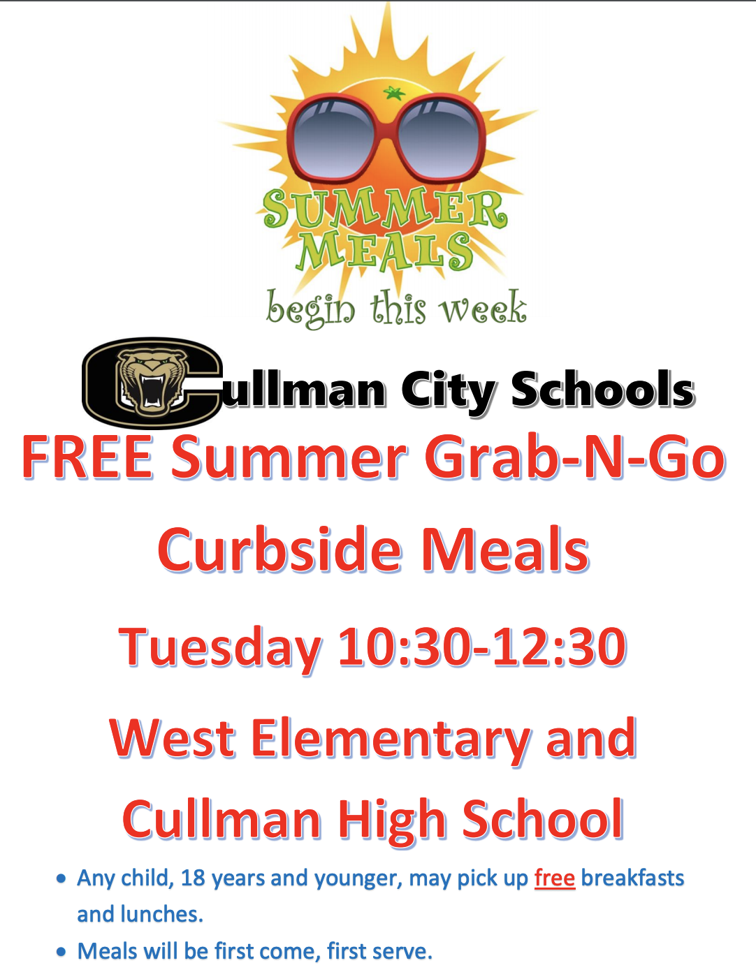 free grab and go meals for ccs students on tuesday 10:30-12:30 at cullman high school and west elem