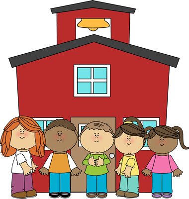 schoolhouse and kids image