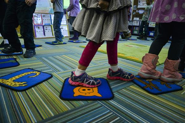 kindergarten feet walking around circle