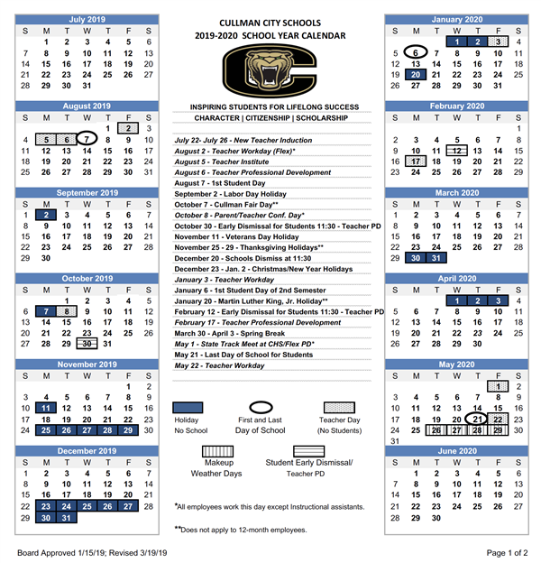 CCS calendar image. Specific dates for CCS appear below in text format.