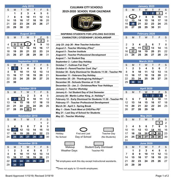 School Cms January Calendar 2019 2019   2020 CCS Calendar / 2019   2020 CCS Calendar