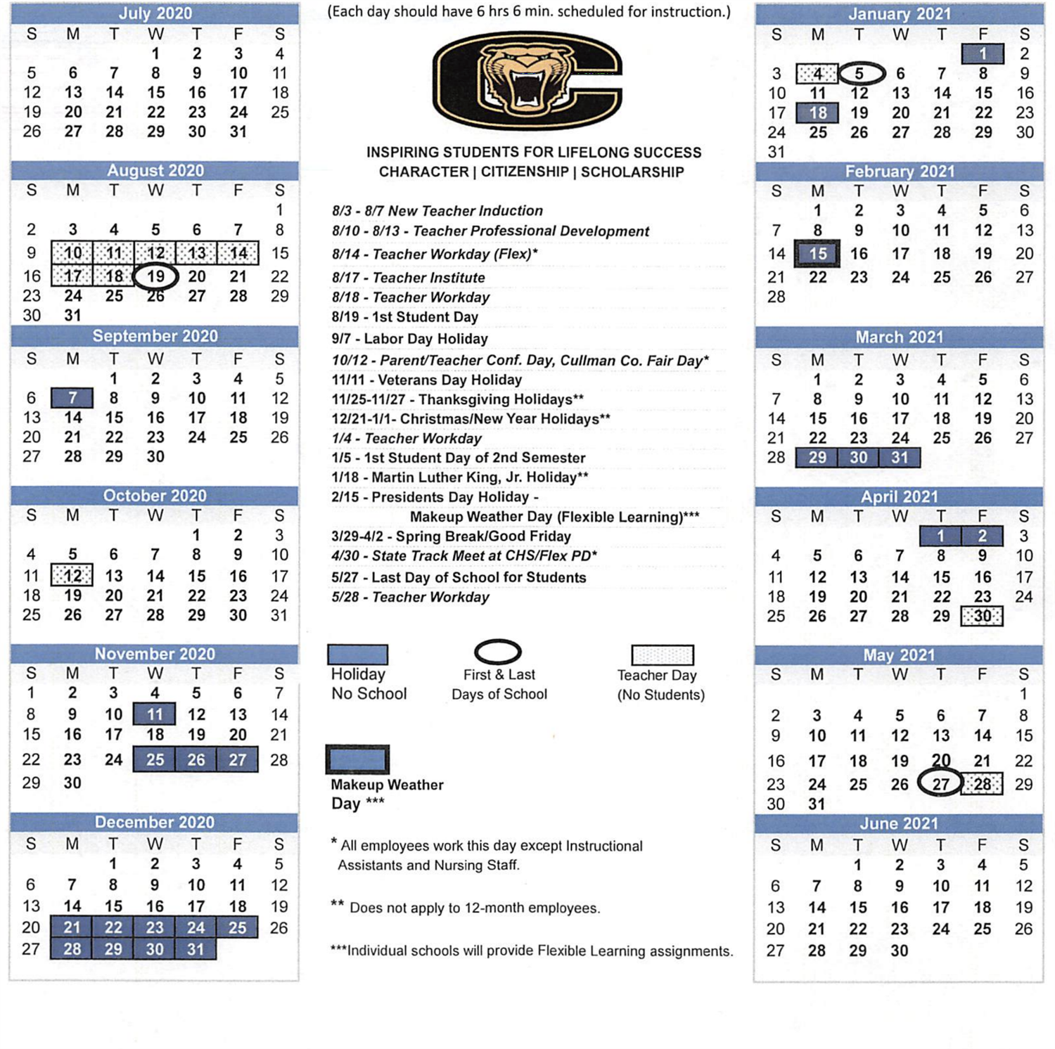 image of the board approved calendar document.  All dates are entered again in a content area below.