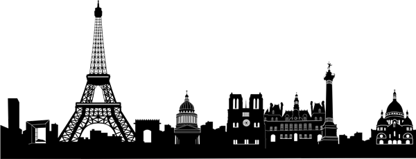 Paris skyline silhouette