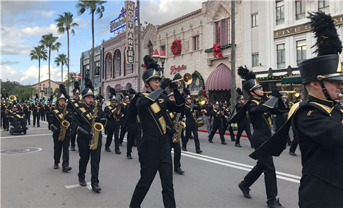 CHS band marching down the street at Universal