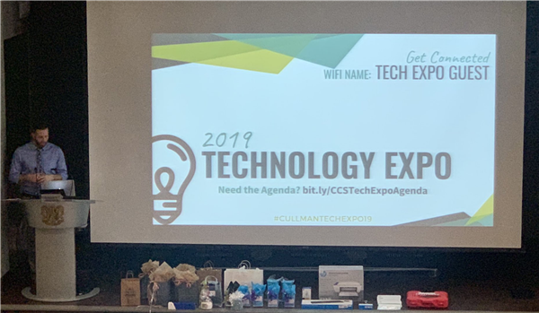 Michael Fowlkes opening the 2019 Tech Expo at CHS