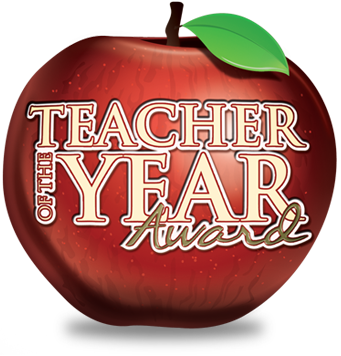 apple with teacher of the year text