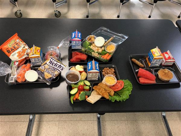 samples of food prepared by CCPS cafeteria staff