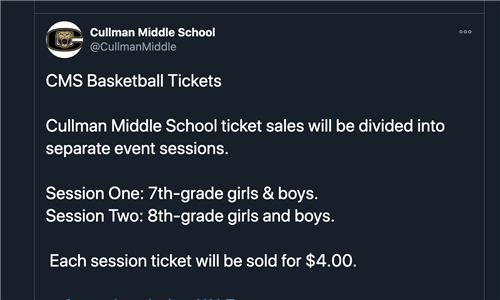 Screenshot explaining that tickets must be bought online for 7th and 8th grade teams